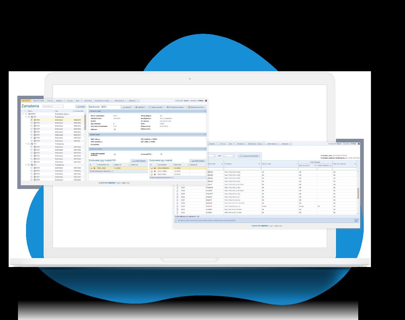 Notebook, počítač s ukážkami softvéru HT Metrix Basic. Zber údajov, sledovanie a spracovanie dát.