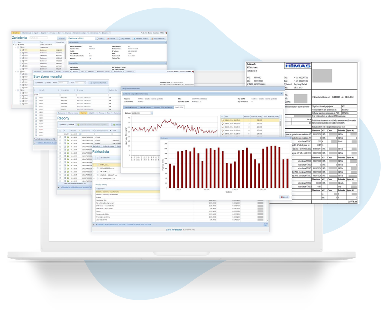 Notebook, počítač s ukážkami okien zo softvéru HT Metrix Advance. Zber údajov a ich následné spracovanie.