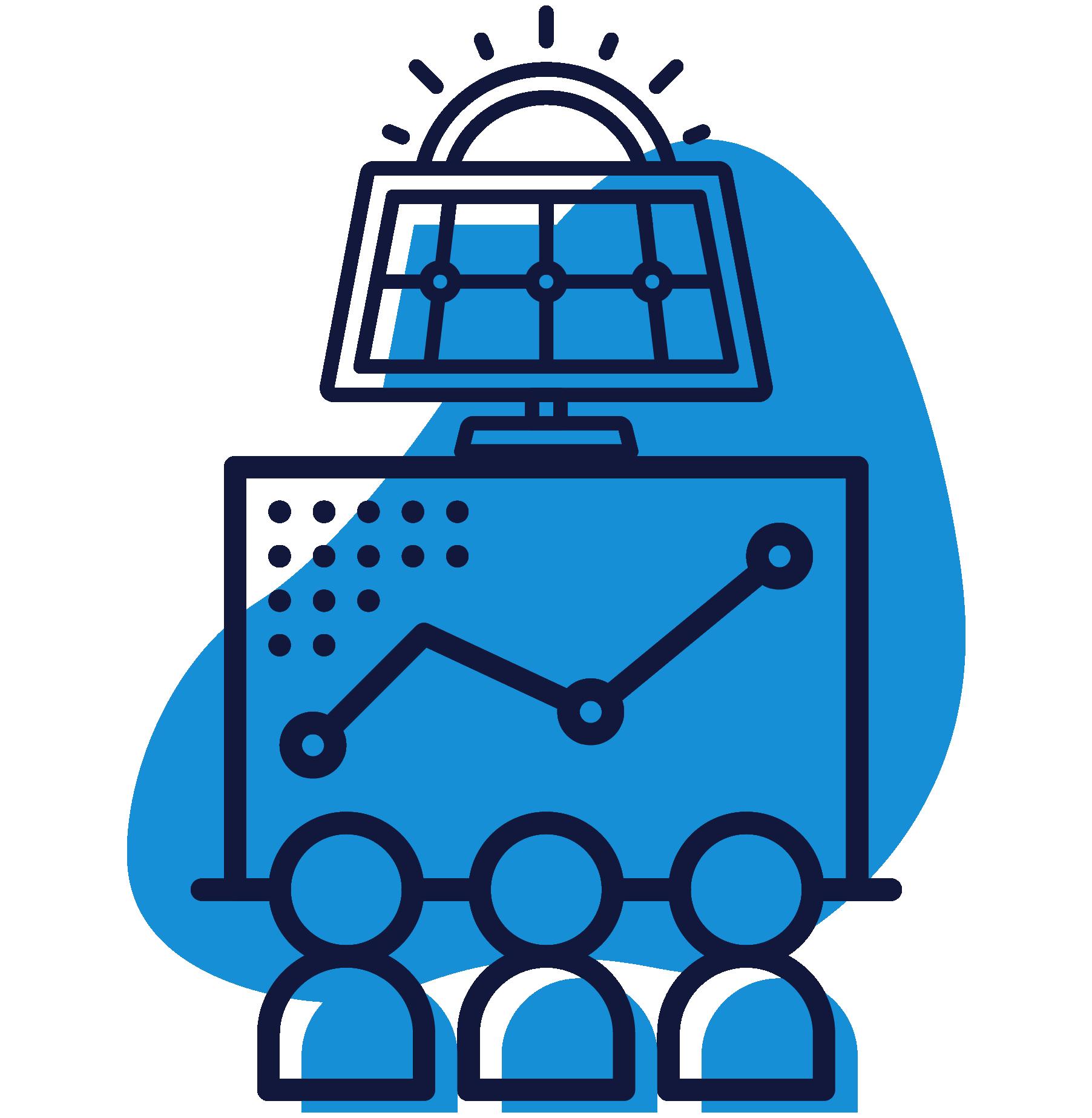 Obrázok znázorňuje činnosti firmy HTEnergy ako je vývoj softvéru HT Metrix na sledovanie dát z MDS. Servis v oblasti energetiky a solárnych panelov a pomoc od odborníkov z oblasti energetiky.